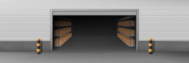 Entrepôt de l'entreprise de livraison, entrepôt libre-service Vecteur gratuit