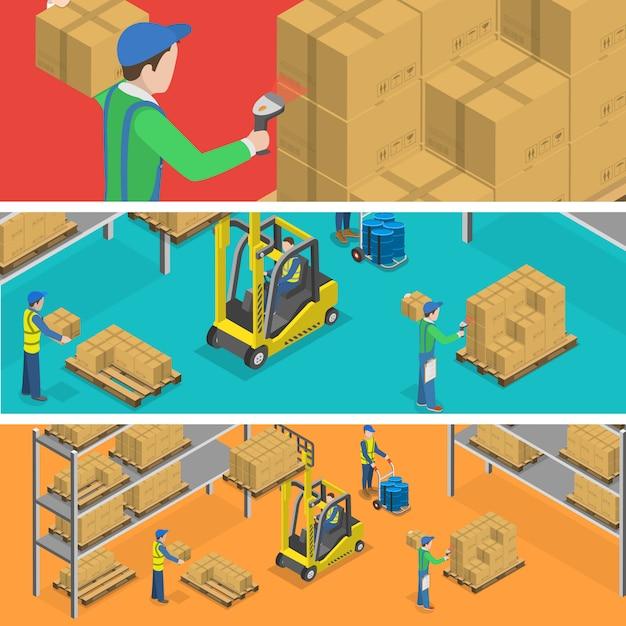 Entrepôt et livraison. Vecteur Premium