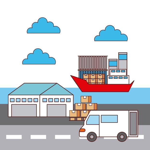 Entrepôt Van Et Transport Logistique De Navire Vecteur Premium