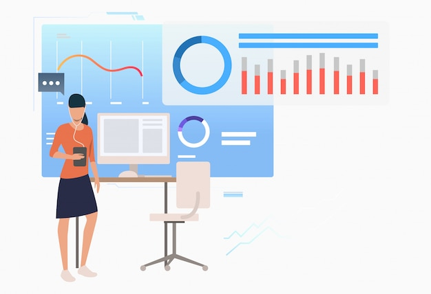 Entrepreneur Analysant Des Diagrammes De Données D'entreprise Vecteur gratuit