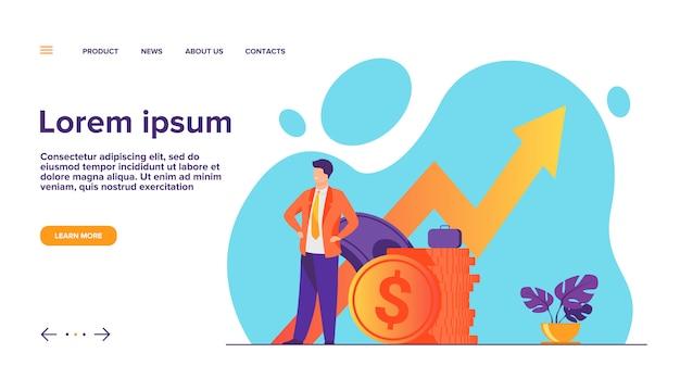 Entrepreneur Ou Investisseur Prospère Présentant La Page De Destination De La Pile D'argent Vecteur gratuit