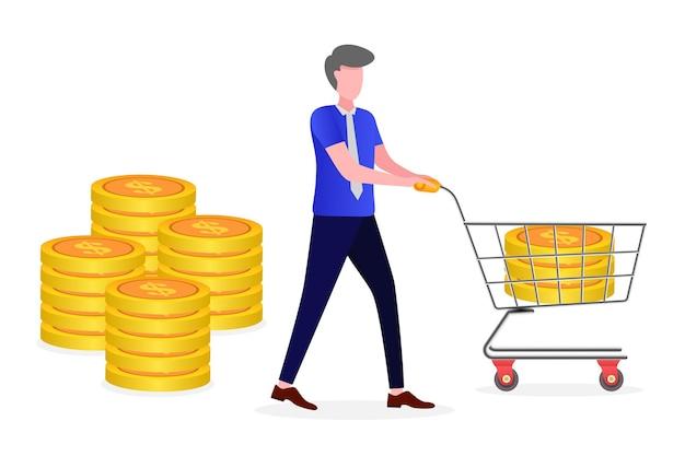 L'entrepreneur Obtient Une Partie Des Bénéfices Vecteur Premium