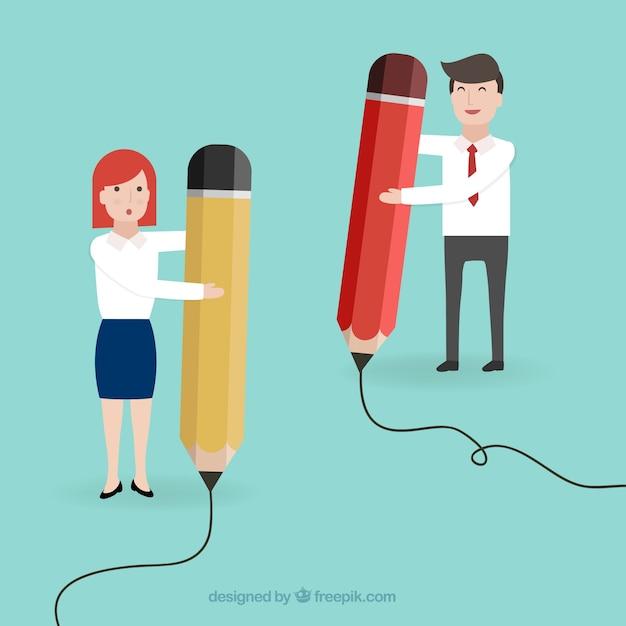 Entrepreneurs Avec De Grands Crayons Vecteur gratuit