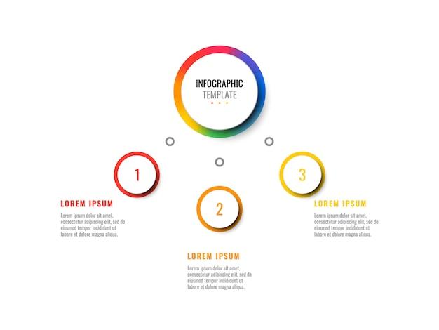 Entreprise 3d Infographique Réaliste Avec Trois étapes. Modèle Infographique Moderne Avec Des éléments Ronds Vecteur Premium
