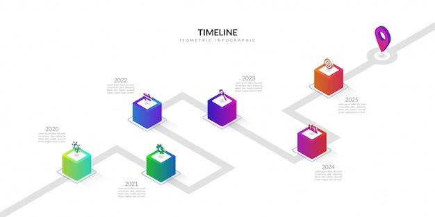 Entreprise de chronologie isométrique infographie, éléments graphiques de flux de travail coloré Vecteur Premium