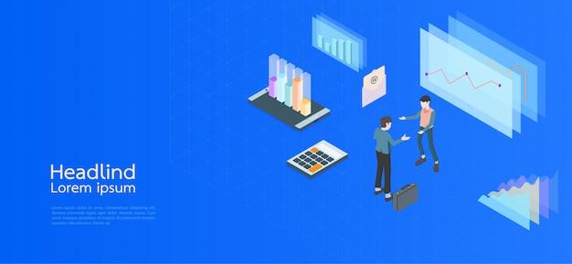 Entreprise de concept isométrique design moderne. ordinateur, ordinateur portable, smartphone Vecteur Premium