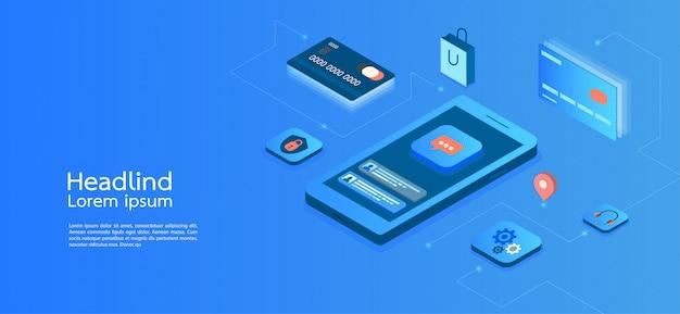 Entreprise de concept isométrique design moderne. téléphone intelligent Vecteur Premium