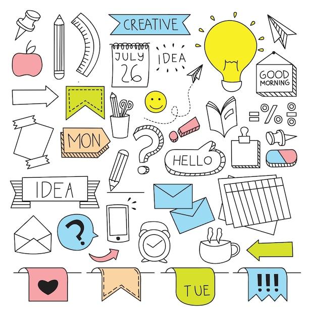 Entreprise créative sur le thème dans l'illustration vectorielle de style doodle Vecteur Premium