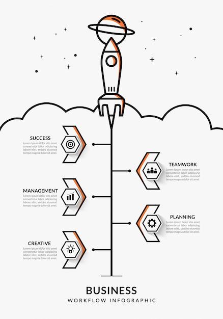 Entreprise en démarrage infographique avec plusieurs options, modèle de workflow de lancement de fusée hiérarchique Vecteur Premium