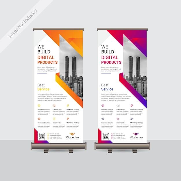 Entreprise D & # 39; Entreprise Conception De Modèle De Bannière Coloré Roll Up Ou Standee Vecteur Premium