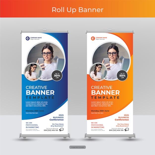 Entreprise D'entreprise Roll Up Ou Stand Modèle De Bannière Avec Dessin Abstrait Vecteur Premium
