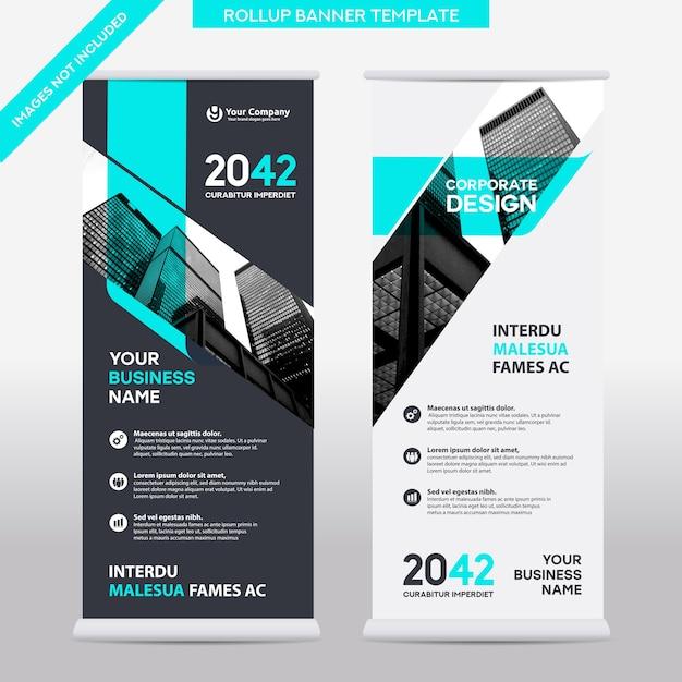 Entreprise De Fond De Ville Roll Up Design Template.flag Banner Design. Vecteur Premium