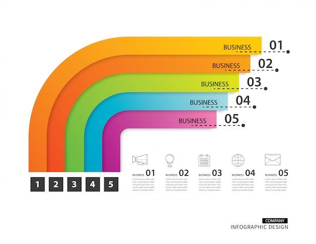 Entreprise infographie route timeline avec gabarit 5 Vecteur Premium