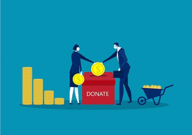 Une entreprise jette une pièce d'or dans une boîte pour recueillir des dons. Vecteur Premium