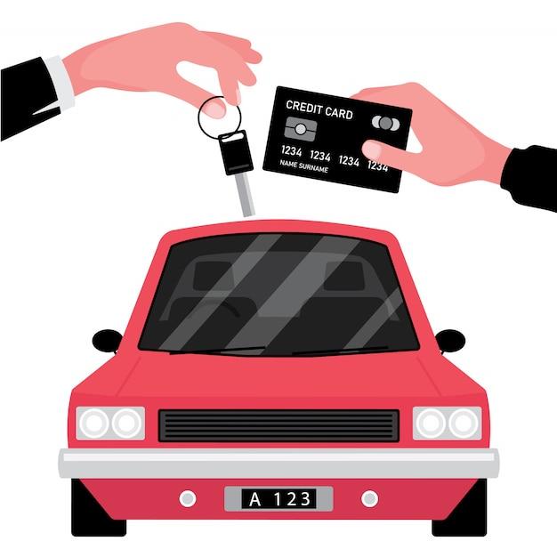 Une Entreprise De Location De Voitures Donne La Clé à Une Autre Avec Une Carte De Crédit Devant Le Véhicule Rouge Vecteur Premium