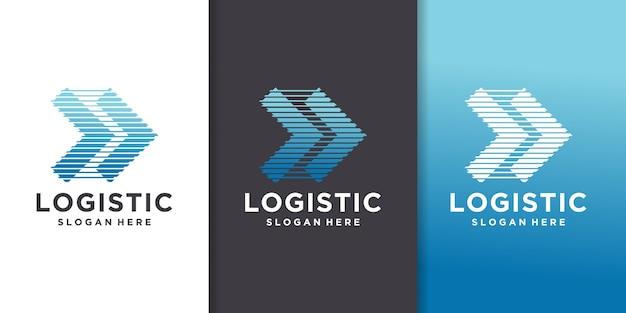 Entreprise De Logistique - Illustration Vectorielle De Business Concept Logo Modèle. Signe Créatif De Flèche Abstraite. Service De Livraison De Transport. Vecteur Premium