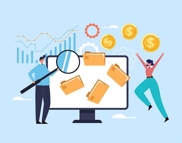 Entreprise Nouvelle Entreprise De Démarrage De La Stratégie De Développement De L'analyse Financière Du Concept D'organisation De Planification. Vecteur Premium