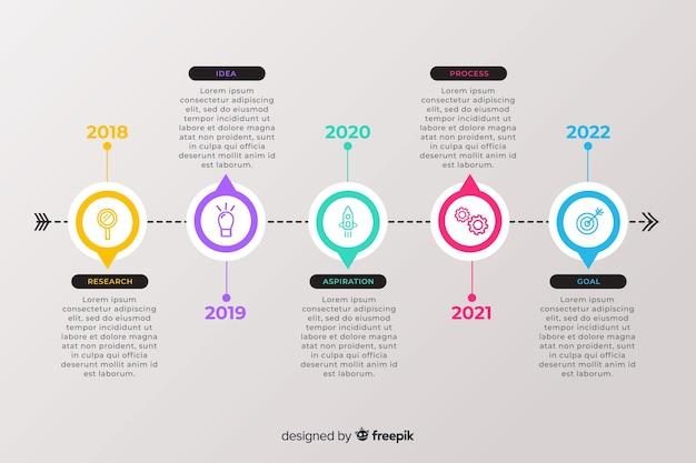 Entreprise plat chronologie infographique Vecteur gratuit
