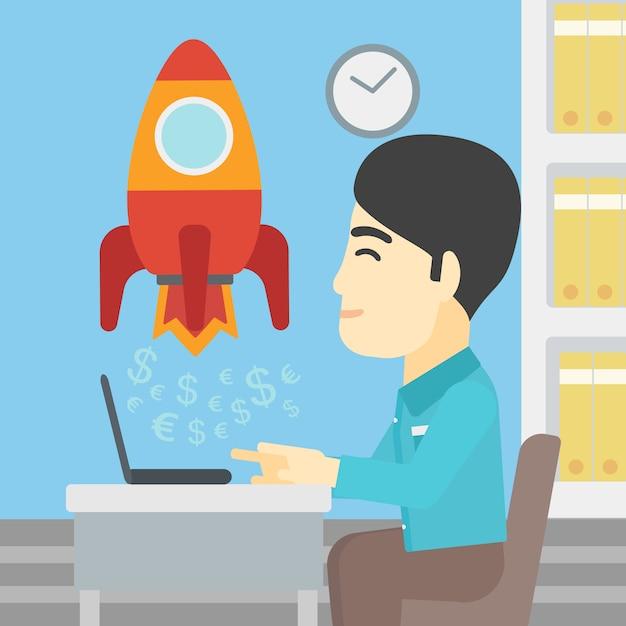 Entreprise prospère démarre illustration vectorielle. Vecteur Premium