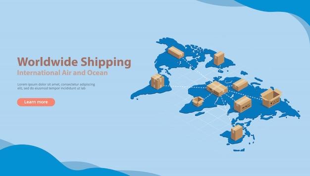Entreprise de transport maritime international Vecteur Premium