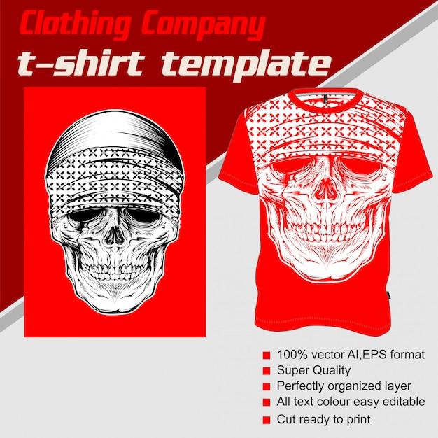 Entreprise de vêtements, modèle de t-shirt, crâne portant un bandana Vecteur Premium