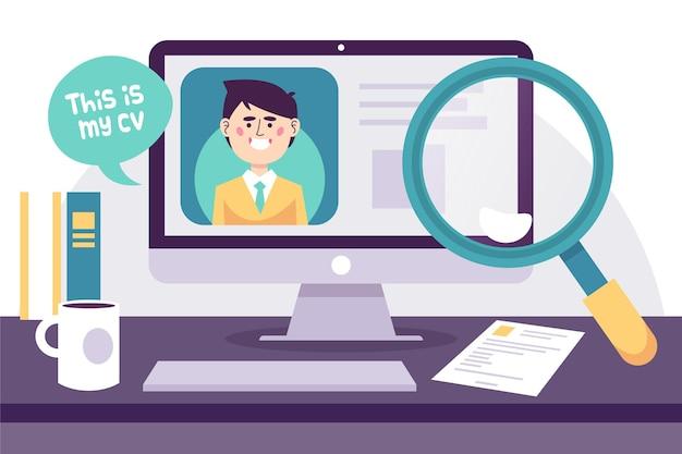 Entretien d'embauche en ligne Vecteur gratuit