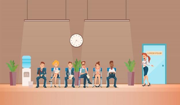 Entretien d'embauche et recrutement. illustration vectorielle Vecteur Premium