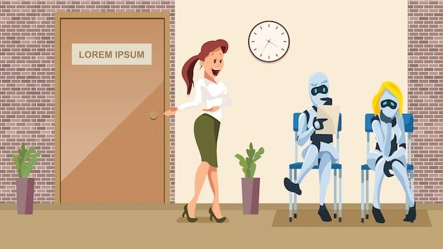Entrevue d'emploi pour deux robots dans le couloir de bureaux Vecteur Premium