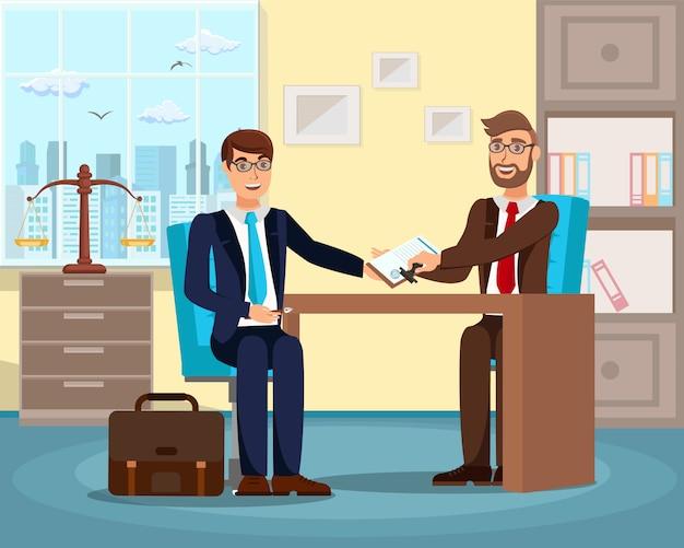 Entrevue D'emploi Réussie Illustration Vectorielle Plane Vecteur Premium