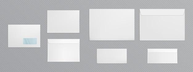 Enveloppe Blanche Avec Fenêtre Transparente Vecteur gratuit