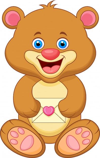 Enveloppe de dessin animé ours Vecteur Premium