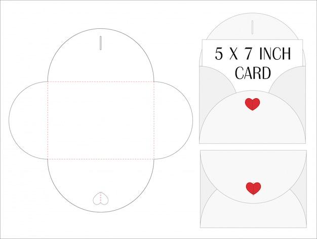 Enveloppe die cut maquette modèle illustration vectorielle. Vecteur Premium