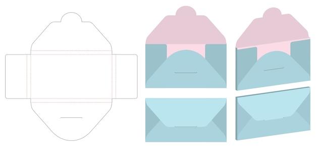 Enveloppe die cut mock up template vecteur Vecteur Premium