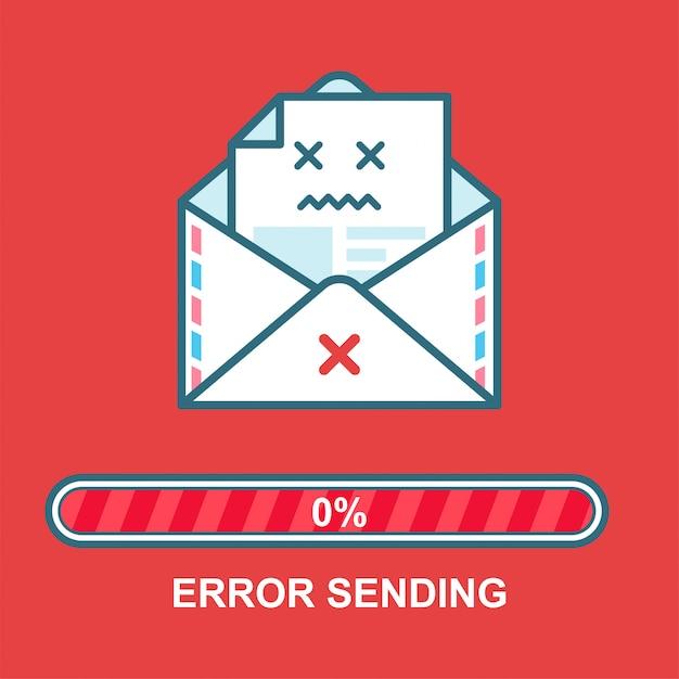 Enveloppe emoji. création de personnage ivre email plat illustration avec barre de progression. processus d'envoi d'email. erreur de message texte. Vecteur Premium