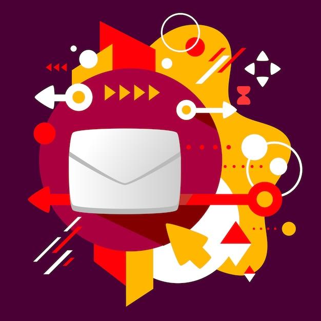Enveloppe sur fond tacheté coloré abstrait sombre avec différents éléments Vecteur Premium