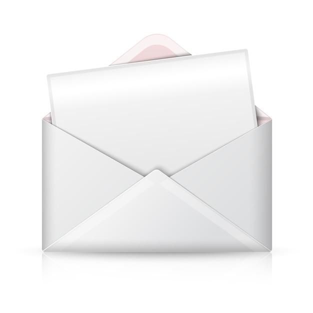 Enveloppe Ouverte Blanche Réaliste Vierge Et Carte Postale Pour Votre Texte. Vecteur Premium
