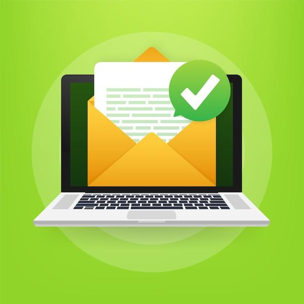 Enveloppe Ouverte Et Document Avec Coche Verte Vecteur Premium