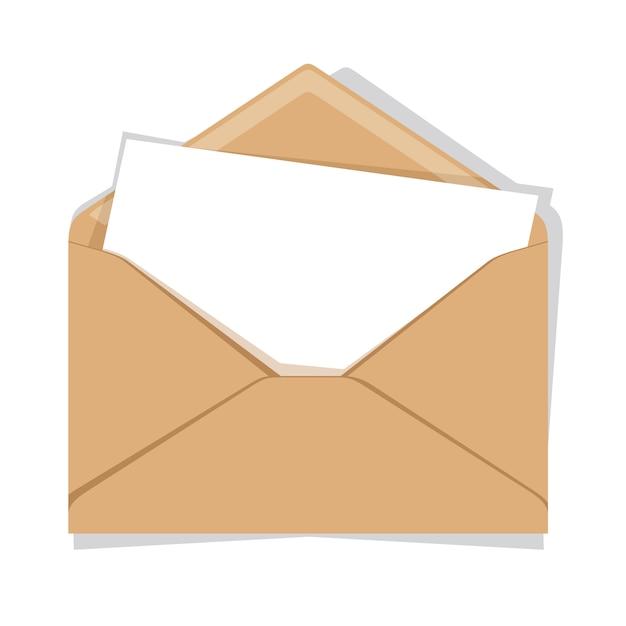 Enveloppe ouverte isolée sur un fond Vecteur Premium