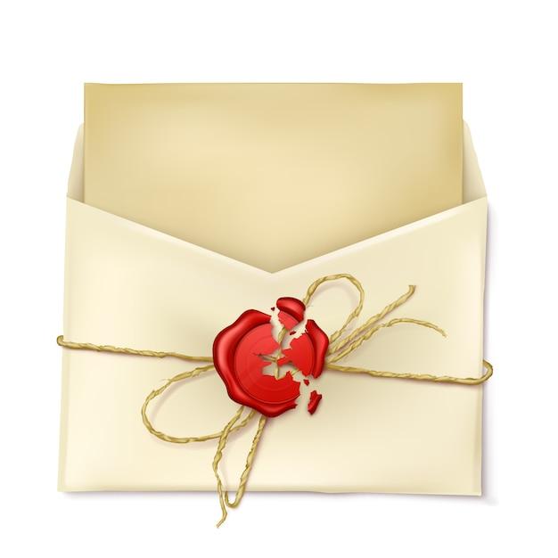 Enveloppe De Papier Ouverte Avec Lettre Vecteur gratuit