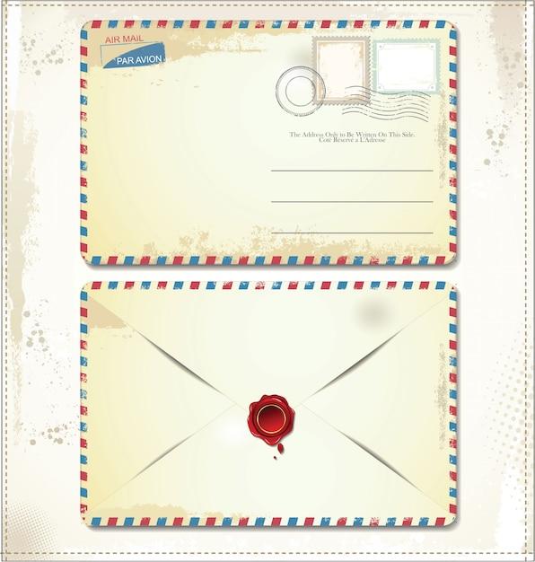 Enveloppe postale ancienne avec timbres et cachet de cire Vecteur Premium