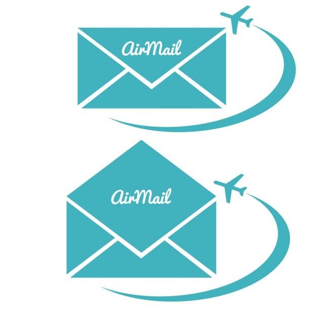 Enveloppe Avec Le Signe De La Poste Aérienne Vecteur gratuit