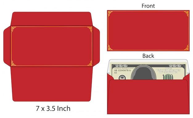 Enveloppe De Style Chinois Die Cut Mock Up Template Vector Illustration. Vecteur Premium