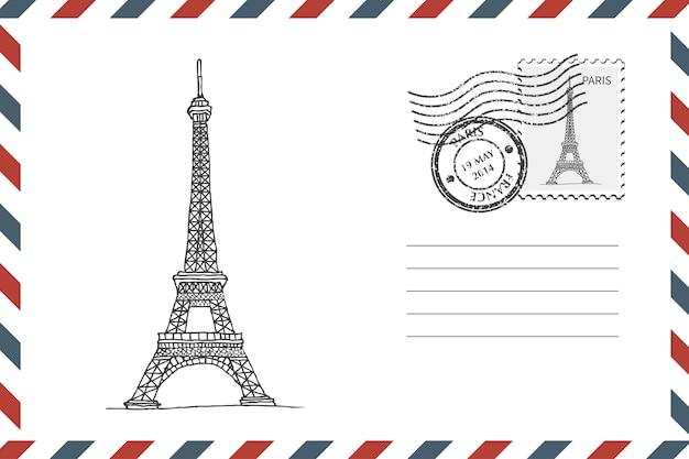 Enveloppe Avec Tour Eiffel Dessinée à La Main Vecteur Premium