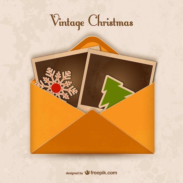 Enveloppe Vintage Pour Noël Vecteur gratuit