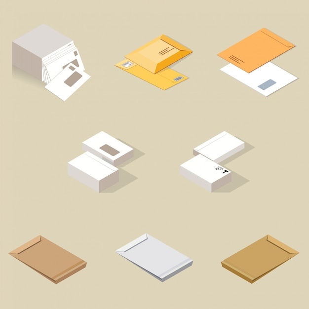 Enveloppes postales Vecteur Premium