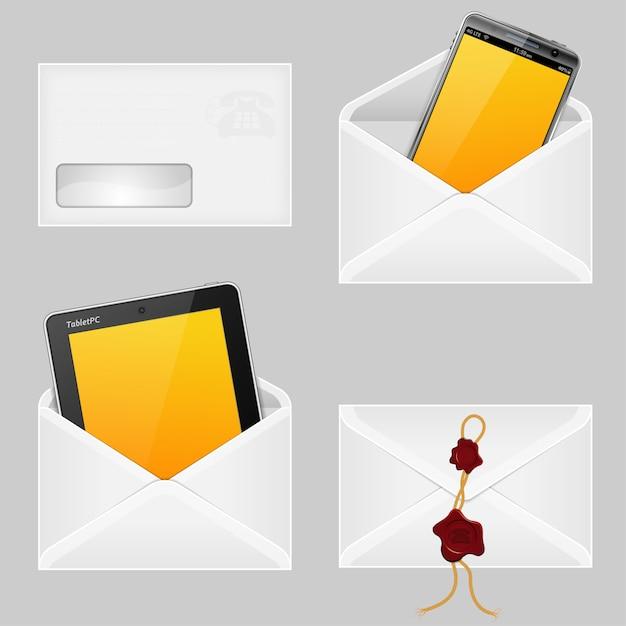 Enveloppes Avec Smart Phone Vecteur Premium