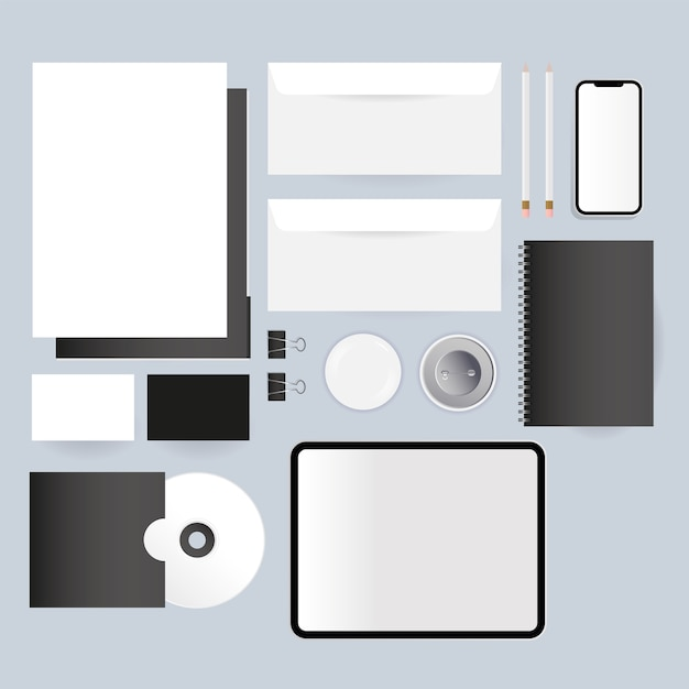 Enveloppes De Tablette Cd Maquette Et Conception De Smartphone Du Modèle D'identité D'entreprise Et Du Thème De Marque Vecteur Premium