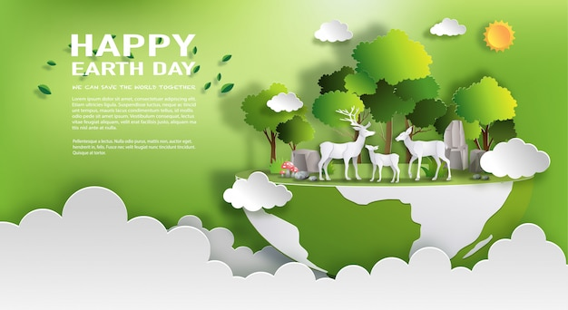 Environnement du monde et concept de la journée de la terre Vecteur Premium