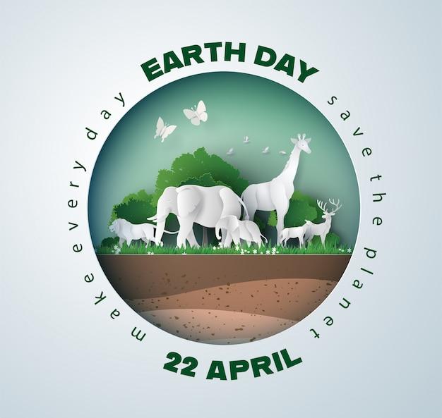 Environnement mondial et concept de la journée de la terre, Vecteur Premium