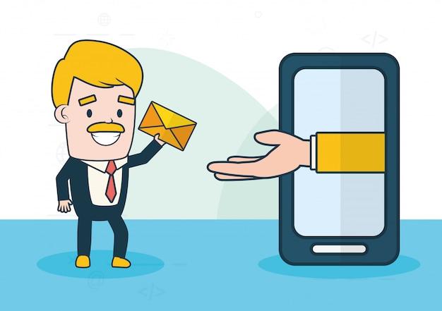 Envoyer un concept email Vecteur gratuit